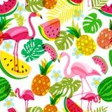 Dirigez le modèle tropical sans couture avec le flamant, les palmettes, la pastèque et les ananas roses Illustration d'été illustration de vecteur
