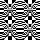 Dirigez le modèle trippy de la géométrie psychadelic abstraite de hippie avec 3d l'illusion, fond géométrique sans couture noir e Images stock