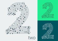 Dirigez le numéro deux sur un fond lumineux et coloré L'image dans le style de la techno, créée en entrelaçant des lignes et des  illustration libre de droits