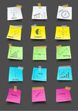 Dirigez le papier de note de post-it avec les affaires pl de dessin Photo stock