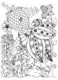 Dirigez le papillon de fille de zentangl d'illustration en fleurs Dessin de griffonnage Effort de page de coloration anti pour de Photographie stock libre de droits