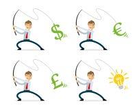 Dirigez le paquet d'argent et d'idées de pêche d'homme d'affaires illustration de vecteur
