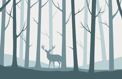 Dirigez le paysage avec les silhouettes bleues des arbres dans la forêt illustration de vecteur
