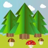 Dirigez le paysage d'automne avec les champignons et l'agaric de mouche impeccables Photos libres de droits