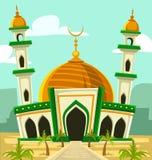 Dirigez le paysage de Moyen-Orient de palmier de dôme d'or d'illustration de bâtiment de mosquée de bande dessinée Images libres de droits
