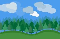 Dirigez le paysage de nature avec des arbres et des nuages d'herbe verte Photo stock