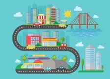 Dirigez le paysage moderne urbain de ville sur le concept de style de route de s Illustration plate Pont intelligent de ville, vo