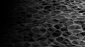 Dirigez le paysage numérique futuriste abstrait avec des points et des étoiles de particules sur l'horizon Intelligence artificie Photo libre de droits