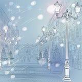 Dirigez le paysage urbain de Noël d'hiver, avenue avec le vin illustration libre de droits
