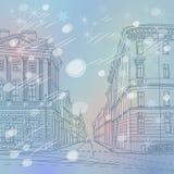 Dirigez le paysage urbain de Noël d'hiver, l'avenue large illustration libre de droits