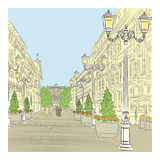 Dirigez le paysage urbain, l'avenue large avec le bui de vintage illustration libre de droits