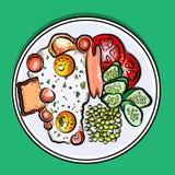 Dirigez le petit déjeuner anglais d'illustration colorée sur des oeufs d'un plat, saucisse, tomate, concombres, pois, pain grillé Images libres de droits
