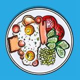 Dirigez le petit déjeuner anglais d'illustration colorée sur des oeufs d'un plat, saucisse, tomate, concombres, pois, pain grillé Images stock
