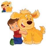 Dirigez le petit garçon s'asseyant sur son recouvrement à côté d'un grand chien et étreignant ses mains Images libres de droits