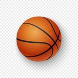 Dirigez le plan rapproché classique brun orange réaliste d'icône du basket-ball 3d d'isolement sur le fond de grille de transpare illustration stock