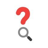 Dirigez le point d'interrogation rouge avec la loupe sur le blanc avec le desig plat Images stock