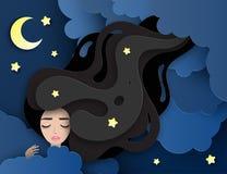 Dirigez le portrait de la jeune belle femme de sommeil avec de longs cheveux onduleux illustration libre de droits
