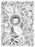 Dirigez le portrait de Zen Tangle d'illustration d'une femme dans un cadre de fleur Fleurs de griffonnage, forêt, jardin Anti eff Image stock