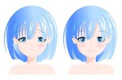 Dirigez le portrait, visage de femme, avant et après le vieillissement, collagène de soins de la peau photographie stock libre de droits
