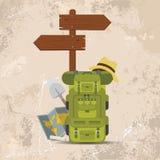 Dirigez le poteau indicateur ou la flèche directionnel en bois avec des sacs à dos Conception de vecteur de concept de camping illustration stock
