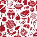 Dirigez le rétro modèle sans couture dénommé ou le backgroun d'icônes de barbecue illustration stock