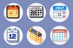 Dirigez le rendez-vous de plan de papier de graphique de gestion d'organisateur de bureau d'icônes de Web de calendrier et l'élém Image stock