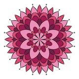 Dirigez le rose coloré autour du mandala floral avec la fleur simple - page adulte de livre de coloriage illustration de vecteur