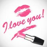 Dirigez le rouge à lèvres rose avec l'espace pour votre texte Photos libres de droits
