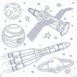 Dirigez le satellite d'icônes, la fusée d'espace et les planètes illustration stock