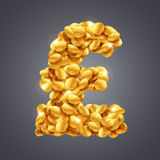 Dirigez le signe de livre sterling fait en grande quantité de pièces de monnaie d'or illustration de vecteur