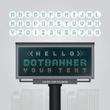 Dirigez le signe mené numérique de panneau d'affichage, enseigne de point, la bannière moderne W Photo libre de droits