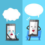 Dirigez le smartphone de bande dessinée exprimant différentes émotions avec les bulles blanches de la parole Photo stock