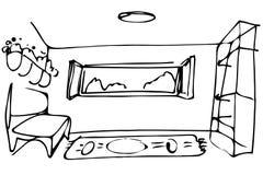 Dirigez le sofa de pièce de croquis par la fenêtre ouverte Photo stock