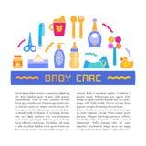 Dirigez le soin de bébé et l'élément de conception de produits de bébé avec l'endroit pour votre texte Illustration de Vecteur