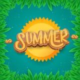 Dirigez le style d'art de papier pour étiquettes d'été sur le fond vert de feuillage Affiche de partie de plage d'été, insecte ou Photo stock