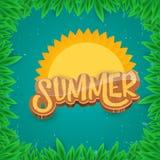 Dirigez le style d'art de papier pour étiquettes d'été sur le fond vert de feuillage Affiche de partie de plage d'été, insecte ou Images libres de droits