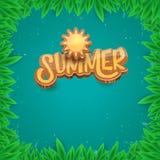 Dirigez le style d'art de papier pour étiquettes d'été sur le fond vert de feuillage Affiche de partie de plage d'été, insecte ou Photographie stock libre de droits