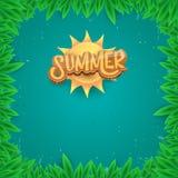 Dirigez le style d'art de papier pour étiquettes d'été sur le fond vert de feuillage Affiche de partie de plage d'été, insecte ou Photographie stock
