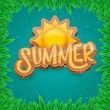 Dirigez le style d'art de papier pour étiquettes d'été sur le fond vert de feuillage Affiche de partie de plage d'été, insecte ou Image libre de droits
