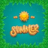 Dirigez le style d'art de papier pour étiquettes d'été sur le fond vert de feuillage Affiche de partie de plage d'été, insecte ou Photo libre de droits