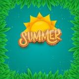 Dirigez le style d'art de papier pour étiquettes d'été sur le fond vert de feuillage Affiche de partie de plage d'été, insecte ou Image stock