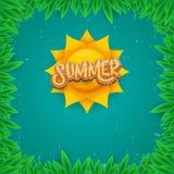 Dirigez le style d'art de papier pour étiquettes d'été sur le fond vert de feuillage Affiche de partie de plage d'été, insecte ou Images stock