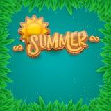 Dirigez le style d'art de papier pour étiquettes d'été sur le fond vert de feuillage Affiche de partie de plage d'été, insecte ou Photos stock