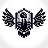 Dirigez le symbole fait utilisant le bras augmenté du mâle et de l'aigle musculaires W illustration libre de droits