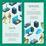 Dirigez le système électronique de l'illustration de calibres de bannière de Web d'icônes de centre de traitement des données illustration libre de droits