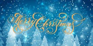 Dirigez le texte de Joyeux Noël sur des milieux d'hiver avec les pins et la neige Affiche créative de cadeau de typographie penda illustration de vecteur