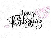 Dirigez le texte heureux de salutation de thanksgiving de lettrage de main avec le potiron, les feuilles et les points de griffon illustration de vecteur