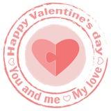 Dirigez le timbre avec deux moitiés du coeur sur un fond blanc Parties du puzzle Image libre de droits