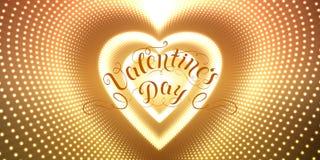 Dirigez le tunnel en forme de coeur infini des fusées brillantes sur le fond d'or Tunnel rougeoyant de coeur de forme de points Image libre de droits