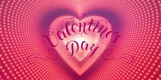 Dirigez le tunnel en forme de coeur infini des fusées brillantes sur le fond violet Tunnel rougeoyant de coeur de forme de points Photos stock